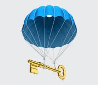 parachut met sleutel